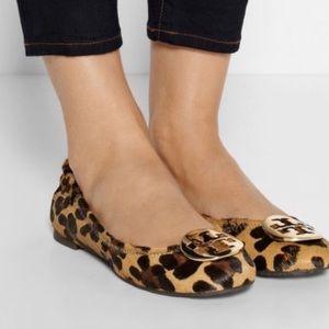 tory burch leopard calf hair reva flats women's 7